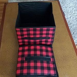 Two Red Plaid Square Storage Boxes/Bins
